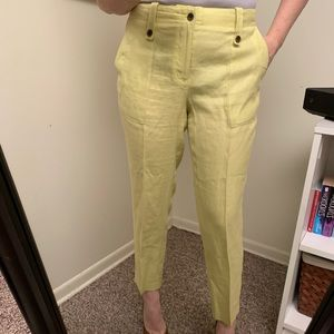 J. Crew yellow linen ankle pant